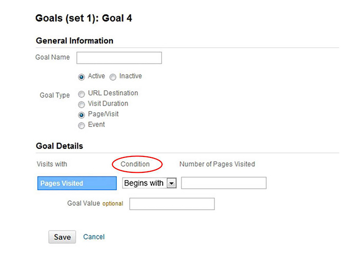 Google Analytics Goals Condition