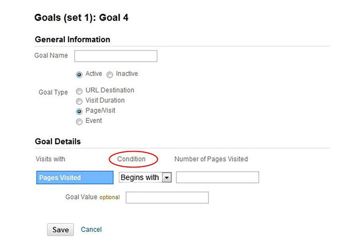 Google Analytics Goals Condition
